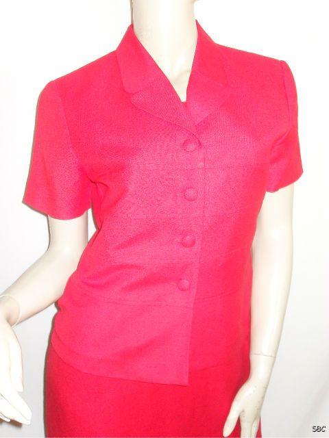 Jessica Howard Petite Size 6P Long Red Linen Split SS Jacket Shift