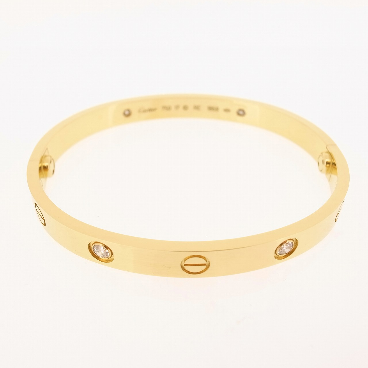 CARTIER 18K YELLOW GOLD 4 DIAMONDS LOVE BRACELET 17 WITH ...