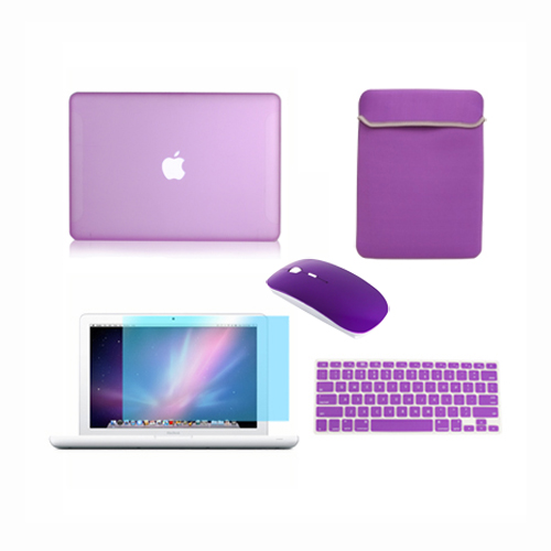 "5in1 Crystal PURPLE Case for Macbook PRO 13/"" LCD Bag +Mouse Keyboard Cover"