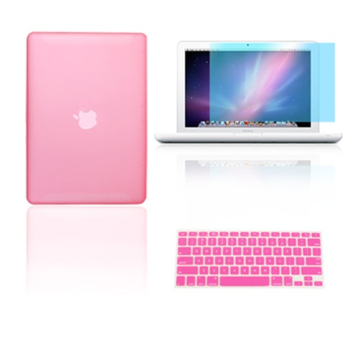 """Keyboard Cover LCD Screen 3 in 1 Rubberized PINK Case for Macbook PRO 13/"""""""