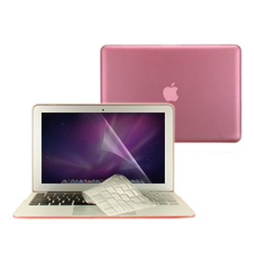 """3 in 1 Rubberized PINK Case for Macbook PRO 13/"""" Keyboard Cover LCD Screen"""
