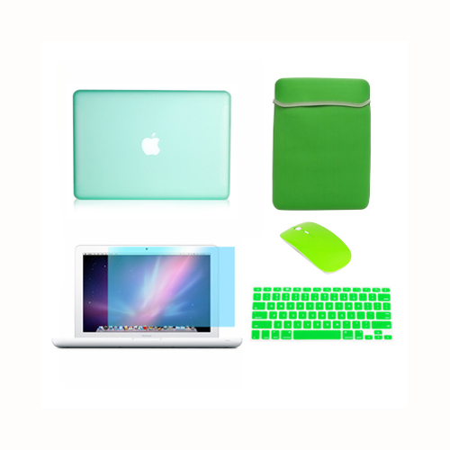 "Bag Keyboard Cover 4in1 Rubberized GREEN Case for Macbook PRO 13/"" LCD Screen"