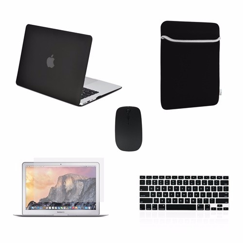 "Mouse Keyboard Cover 5in1 Rubberized BLACK Case for Macbook PRO 13/"" LCD Bag"