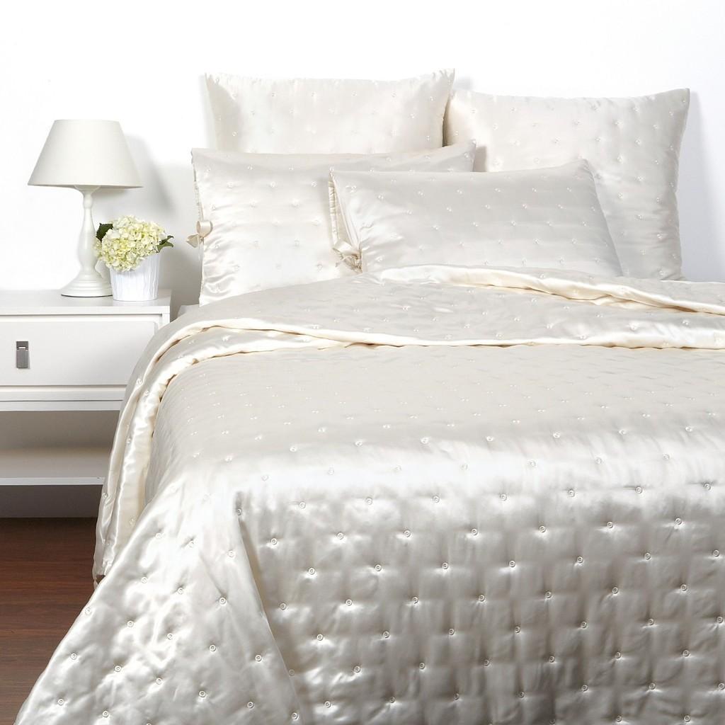 hudson park luxe silk quilted king coverlet ivory. Black Bedroom Furniture Sets. Home Design Ideas