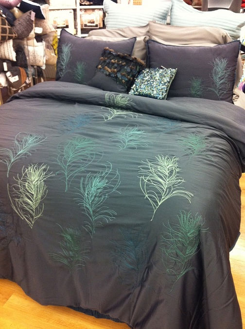 Nicole Miller Feathers Comforter Set Cal King Blue Peacock
