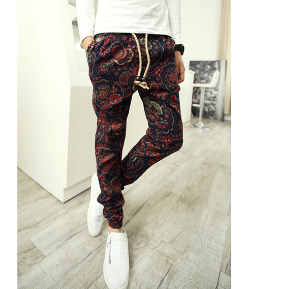 Men's Slim Retro Floral Patterned Pop Drawstring Slim Linen Harem Awesome Mens Patterned Pants