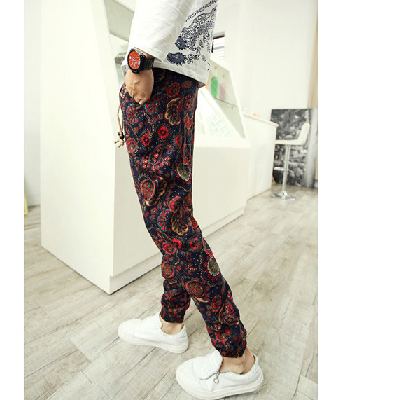 Men's Slim Retro Floral Patterned Pop Drawstring Slim Linen Harem Extraordinary Patterned Pants Mens