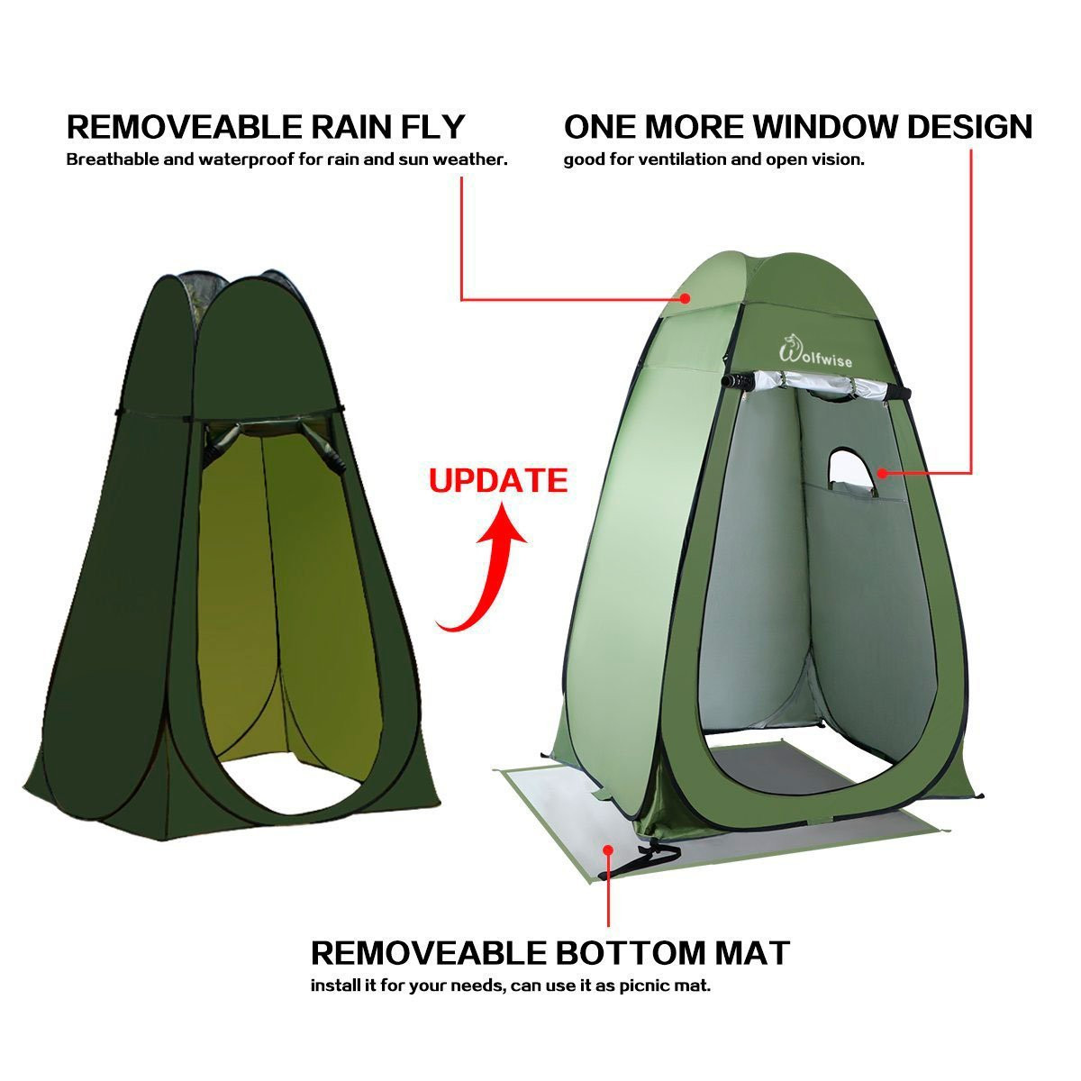 buy popular e0e59 d1cfc Details about Wolfwise Portable Toilet Shower Tent Beach Outdoor Camping  Pop Up Changing Tent