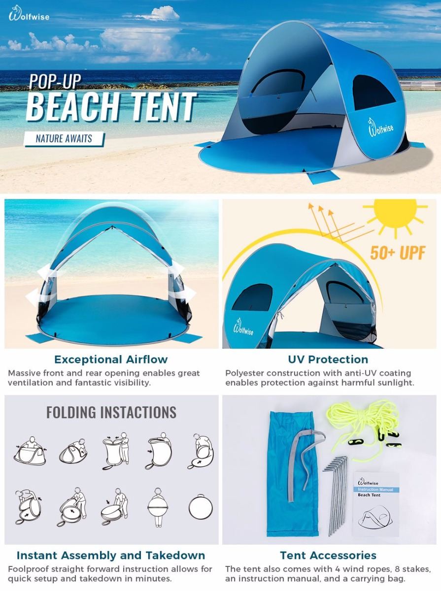 YouTube Wolfwise Pop Up Beach Tent  sc 1 st  eBay & WolfWise Easy Pop Up Beach Tent Portable Camping UPF 50+ Baby ...