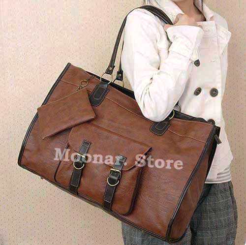 Удобная коричневая сумка с накладным карманом - Интернет магазин Flady.