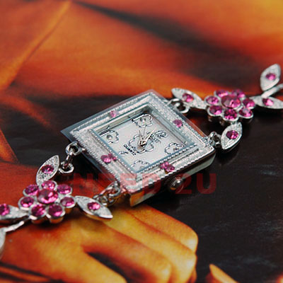 Lady Flower Crystal Bracelet Slim Quartz Watch