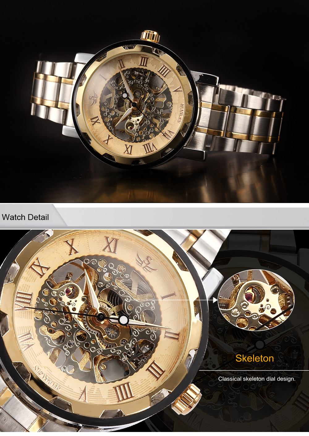 accessories luxury brand mens winner leather casual watch men brown watches transparent design skeleton golden top strap case mechanical wholesale shop