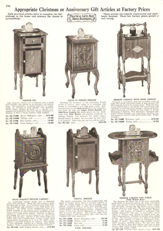 1932 Antique Art Deco Smokers Stand Cabinet AD