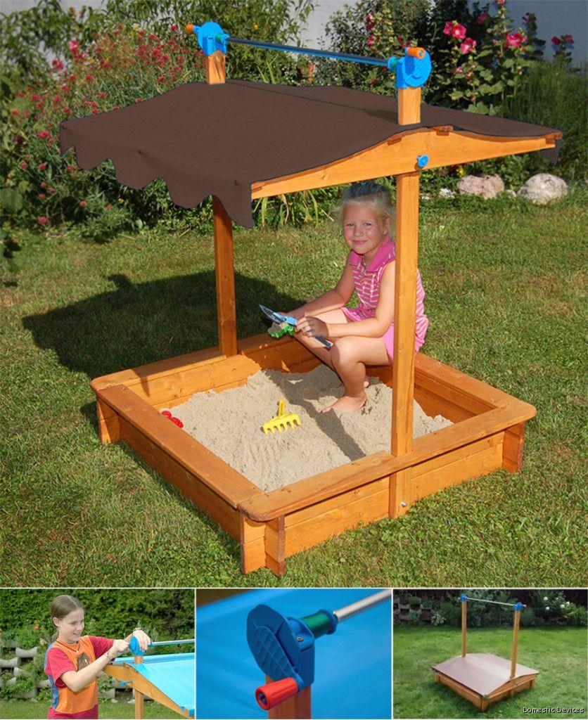 Covered Sandbox For Children With Adjustable Height U.V