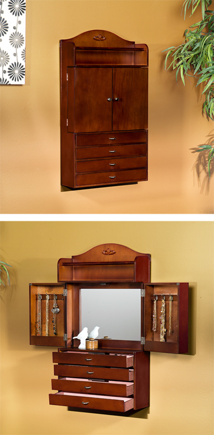 Jewelry Cabinet Organizer Compact Wall Mount Wooden
