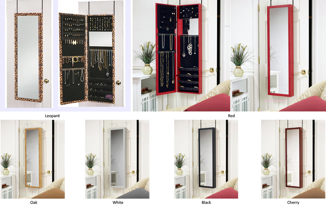 Jewelry Armoire with Dressing Mirror Door Hang or Wall ...