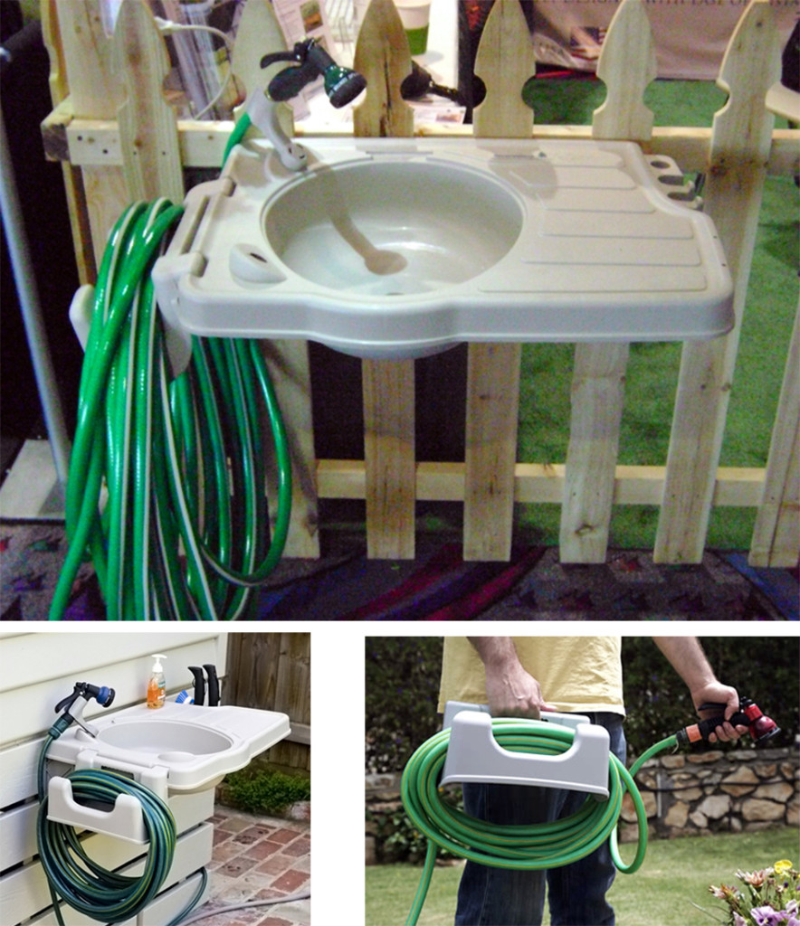 Outdoor Sink with Detatchable Hose Reel Mounting Hardware ... on Outdoor Patio Sink id=97963