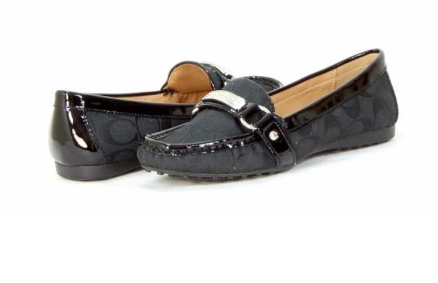 cb9bb20b91c Image is loading Coach-Shoes-Womens-Black-Felisha-Signature-Hardware-Loafers -