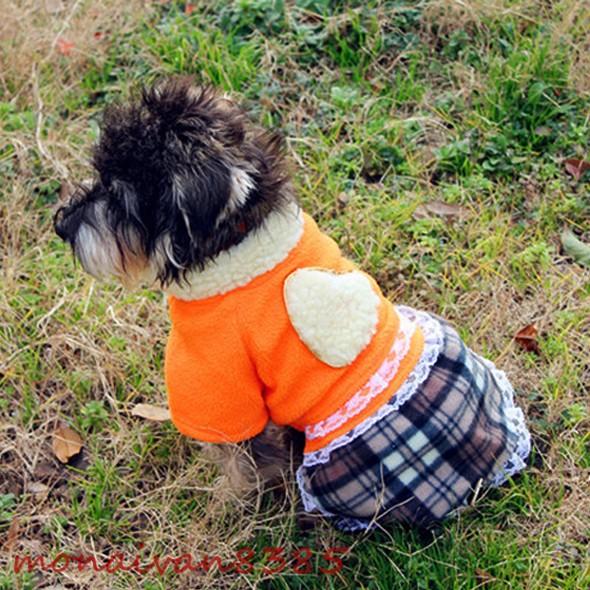 Orange Fleece Checked Puppy Dog Dress Coat Dog Clothes Apparel Pet