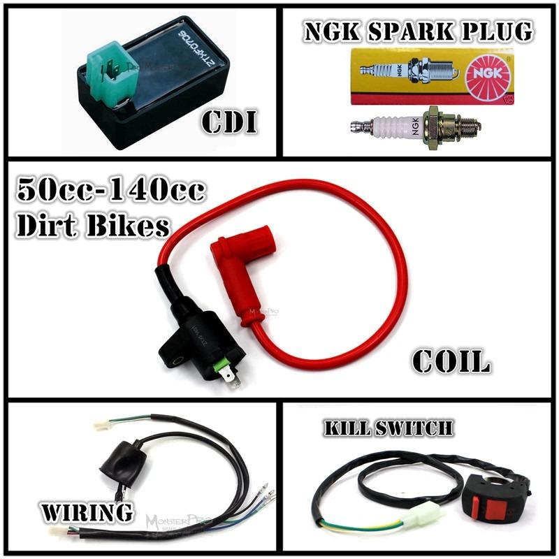 chinese 125cc pit bike wiring diagram all electrics 110cc 125cc 140cc cdi coil harness pit dirt ... pit bike wiring diagram #9