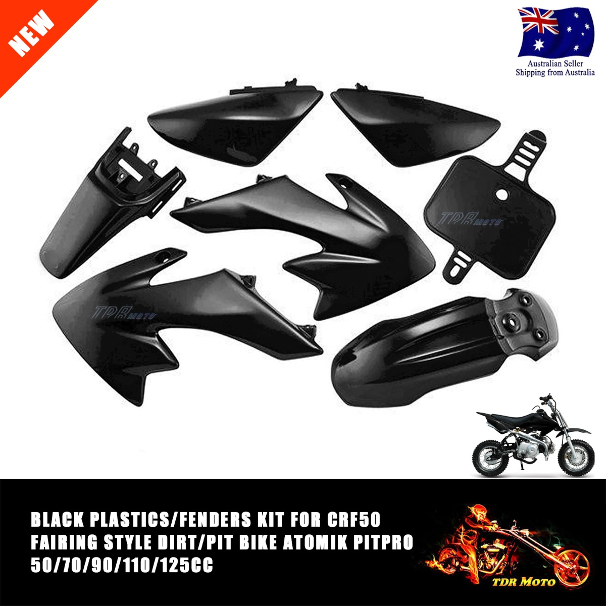 Plastic Body Fenders Kit+Tall Flat Seat For Honda CRF50 Pit Dirt Bike Motorcycle