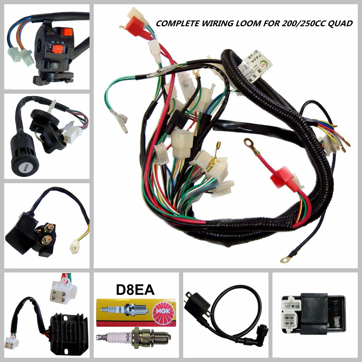 zongshen 250 atv wiring diagram: full electrics wiring harness loom  coil cdi 200/250