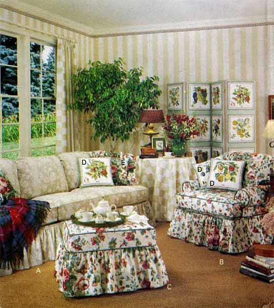 Sofa Chair Ottoman Slipcovers Amp Pillows B3174 Waverly Ebay