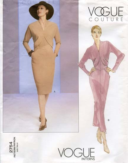 Vogue Couture Semi-Fit Dress in 2 Lengths w/Raised Neckline Sewing ...