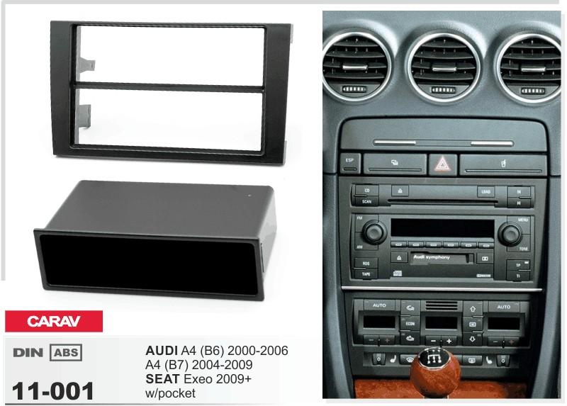 carav 11-001 2/1-din car kit frame adapter mounting audi a4 b6 b7