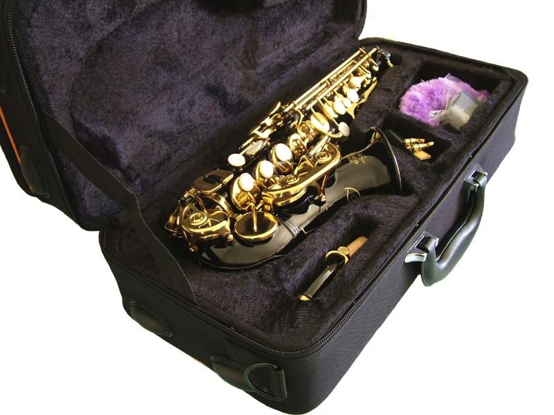 curved soprano saxophone sax black finish gold keys free case accessories ebay. Black Bedroom Furniture Sets. Home Design Ideas
