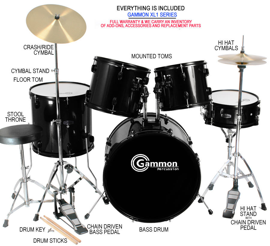 new complete 5 piece adult drum set cymbals full size with cymbals stands sticks. Black Bedroom Furniture Sets. Home Design Ideas