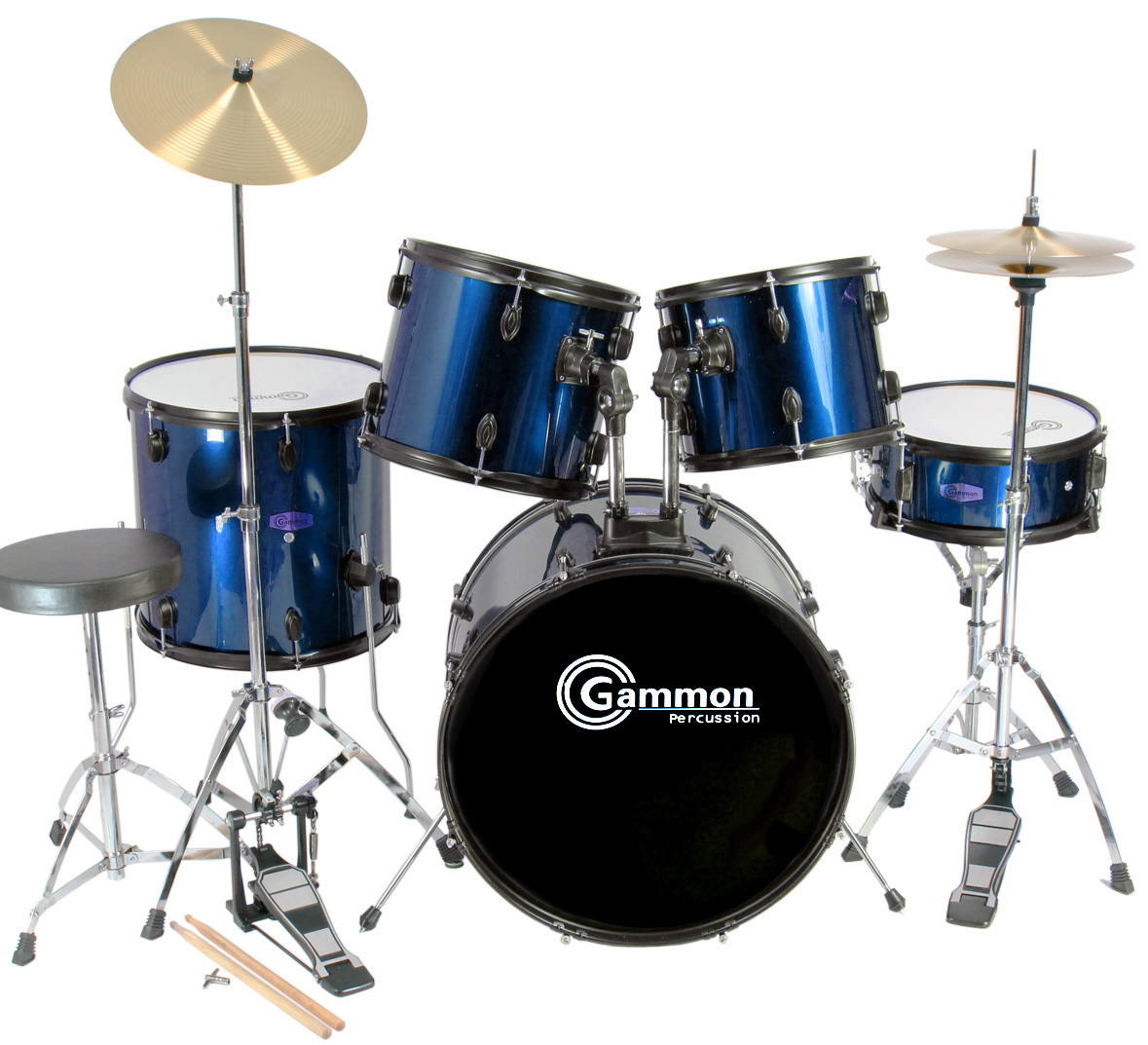 new complete 5 piece adult drum set cymbals full size with cymbals stands sticks ebay. Black Bedroom Furniture Sets. Home Design Ideas