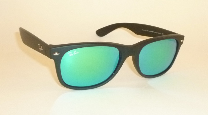 12d8f4968d Details about RAY BAN Sunglasses Matte Black Rubber WAYFARER RB 2132 622 19  Green Mirror 55mm