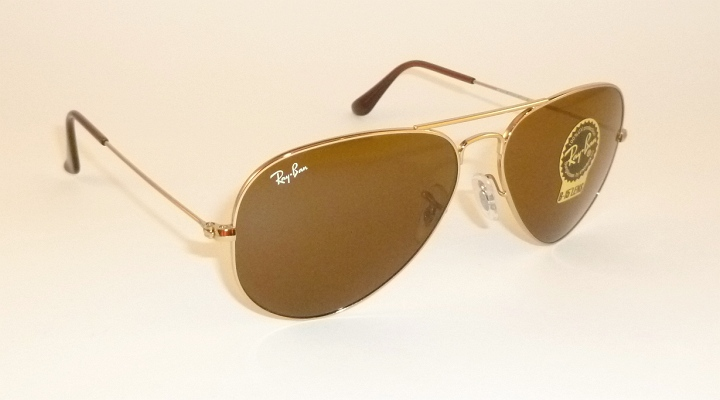 52a9c2e81d5 New RAY BAN Aviator Gold Frame RB 3025 001 33 B-15 Glass Brown ...