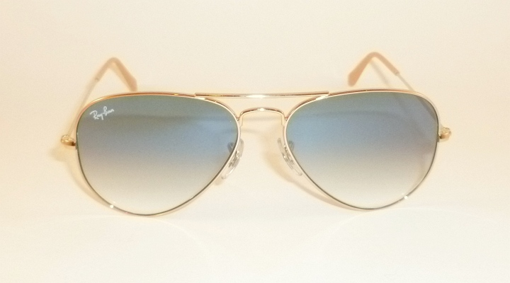 e60968377f44 Details about New RAY BAN Aviator Sunglasses Gold Frame RB 3025 001 3F Gradient  Blue 62mm