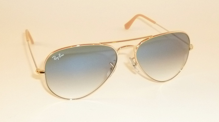 7ec5da2476be9 Details about New RAY BAN Aviator Sunglasses Gold Frame RB 3025 001 3F  Gradient Blue 62mm