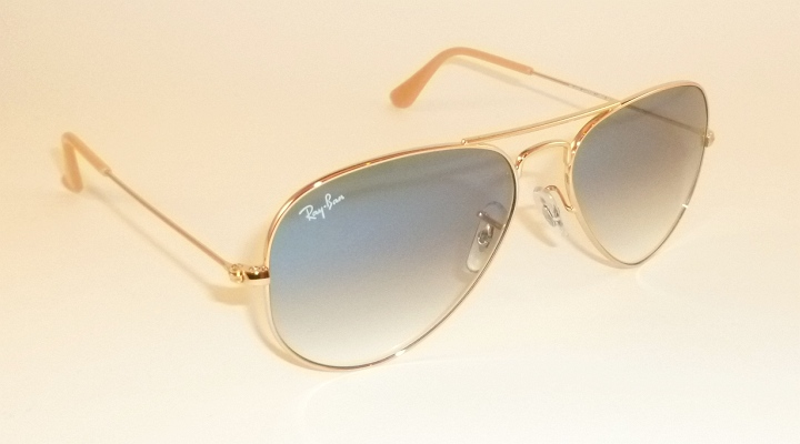 76242c60f Details about New RAY BAN Aviator Sunglasses Gold Frame RB 3025 001/3F  Gradient Blue 62mm