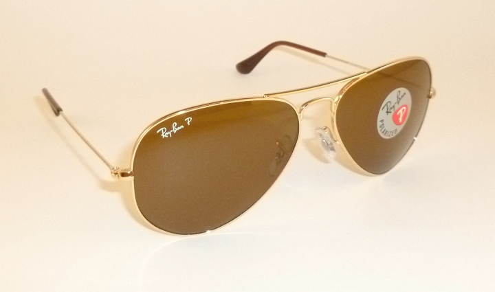 016e6c1d1f364 New RAY BAN Aviator GLASS POLARIZED Brown RB 3025 001 57 Gold Frame ...