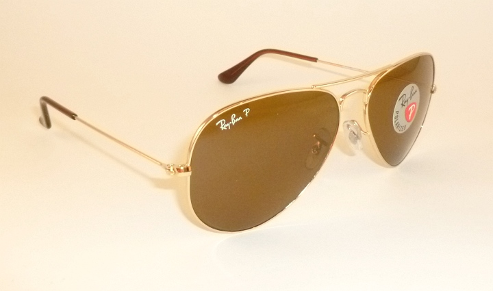 162aaea14d New RAY BAN Aviator GLASS POLARIZED Brown RB 3025 001 57 Gold Frame ...