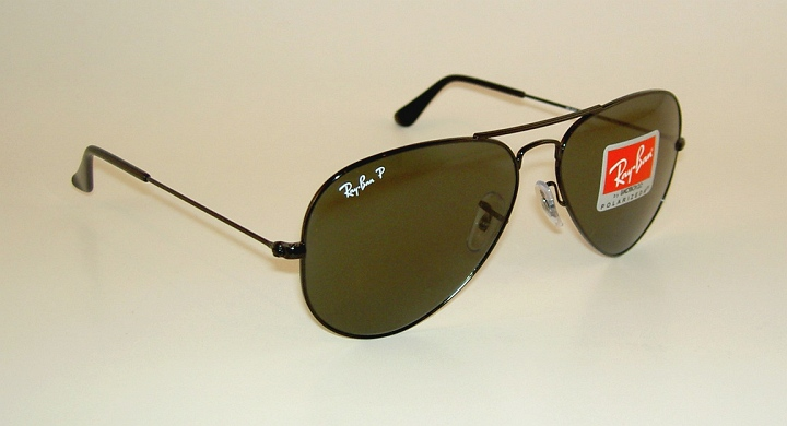 33924d9b8f3 New RAY BAN Aviator Sunglasses Glass Polarized Green RB 3025 002 58 ...