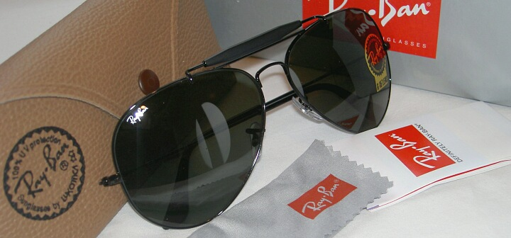134542d7e New RAY BAN Sunglasses Black AVIATOR Outdoorsman II RB 3029 L2114 G ...