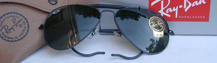 New Ray Ban Sunglasses AVIATOR OUTDOORSMAN  Black  RB 3030 L9500 G-15 Glass Lens 1