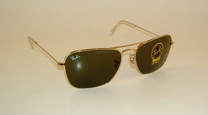 e6d3cac36ef7 New RAY BAN Sunglasses Gold Frame CARAVAN RB 3136 001 G-15 Glass ...