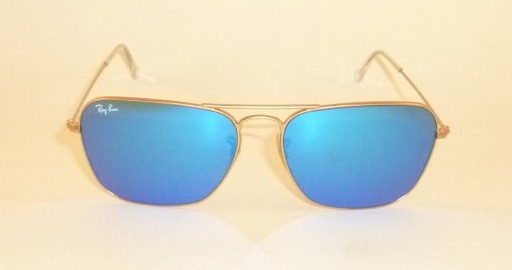 New RAY BAN Caravan Sunglasses Matte Gold Frame RB 3136 112 17 Blue ... 04796e2b0a55c