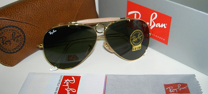 8026d9396597c New RAY BAN Sunglasses AVIATOR SHOOTER Gold RB 3138 001 Glass G-15 ...