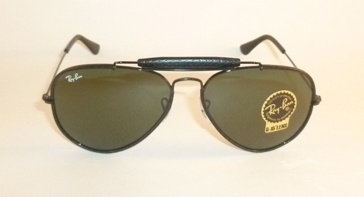 d1086d5fe89 New RAY BAN Aviator Outdoorsman Black Leather RB 3422Q 9040 G-15 ...
