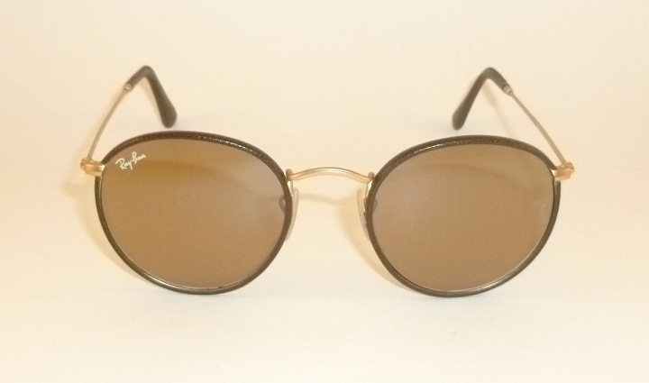 fc2ecadf36 RAY BAN Round Metal Matte Gold Frame Brown Leather RB 3475Q 112 53 ...