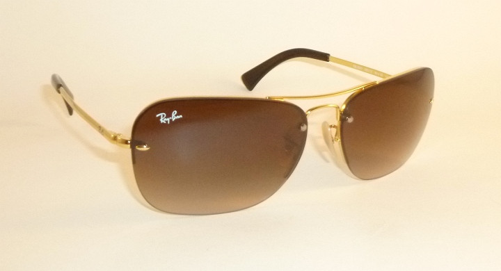89a8089674 New RAY BAN Rimless Sunglasses Gold Frame RB 3541 001 13 Gradient ...