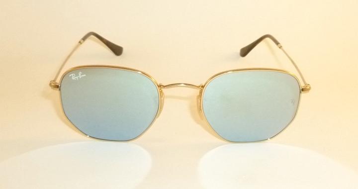 fba72983e3c RAY BAN Hexagonal Flat Sunglasses Gold Frame RB 3548N 001 30 Silver ...