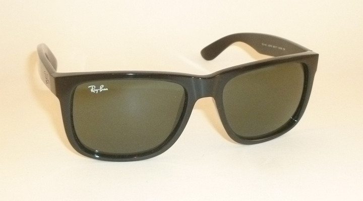ray ban justin sunglasses black frame green lens
